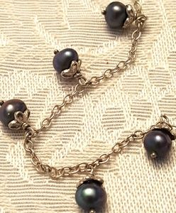 VINTAGE 925 Black Tahitian Pearl Dangle Necklace!